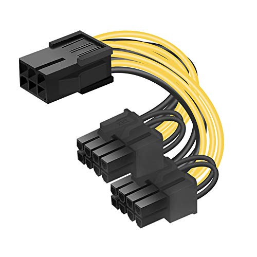 OUK-BT 6-Pin PCIe auf Dual 8-Pin PCIe Stromkabel Adapter, 6-Polig PCIe Weiblich zu 2 x 8-Polig (2-polig + 6-Polig) PCIe männlich PCI-Express Grafikkarte Adapter GPU Y-Splitter Stromkabel