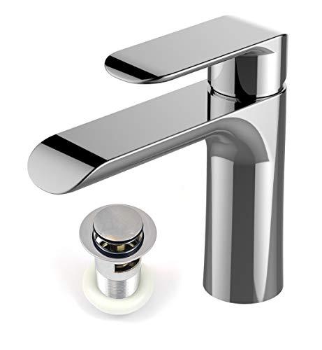 Xcel Home Mera - Grifo monomando para lavabo (cromado, con desagüe redondo, monomando de lujo)