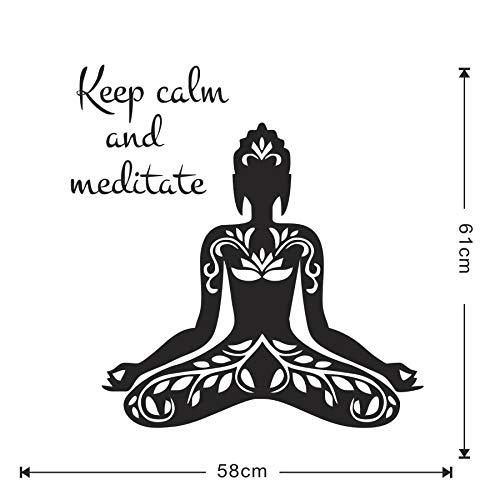 Weaeo Mantener La Calma Y Meditar Famoso Aforismo Cotización Yoga Lotus Pose Etiqueta De La Pared Decoración Para El Hogar Sala De Estar Arte Del Vinilo Extraíble
