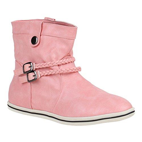 Sportliche Damen Stiefeletten Schnallen Zierknöpfe Flache Boots 151499 Pink Schnallen 40 Flandell