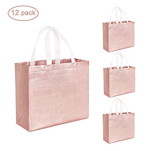 Set of 12 Glossy Reusable Grocery Shopping Bags Stylish Tote Bags with Handle, Non-woven Gift Bag Goodies Bag Rose Gold Tote Bags for Women Bridesmaid Birthday Party Wedding Christmas (Rose Gold)