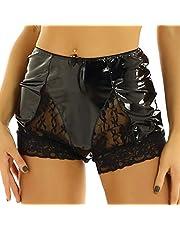 Sexy Lingerie Plus Maat Dames Shorts Sexy Clubwear Wetlook Lakleer Lingerie Hoog Getailleerde Voorkant