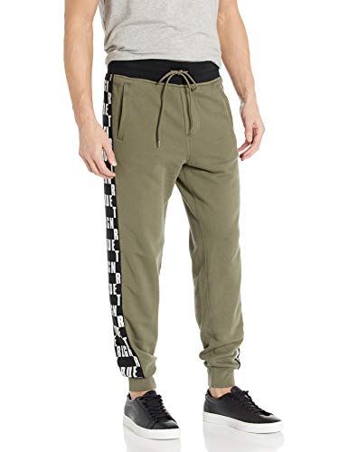 True Religion Herren Fashion Monogram Slim Leg fit Jogger Sweat Pant Jogginghose, Militant Grün/Schwarz, XXX-Large