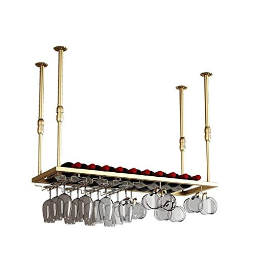 BUSUANZI Wine Rack Holder Upside Down Wine Glass Shelf, Height Can Be Adjusted Freely Wine Cellar,Gold-M