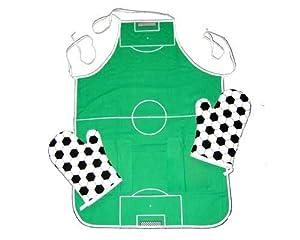 Grillschürze und Grillhandschuhe im Fußballdesign