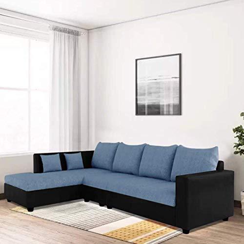 CasaStyle Lavis Six Seater L Shaped LHS Sofa Set (Blue-Black)