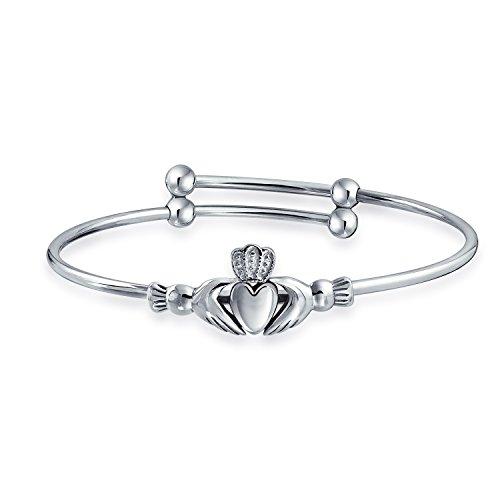 Claddagh Herzen Irischen Freundschaft Armband Armreif Für Damen Schmale Handgelenke 6.5In Sterling Silber Verstellbar