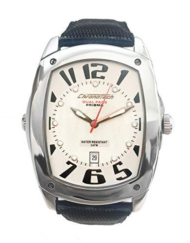 Chronotech Unisex Erwachsene Analog Quarz Uhr mit Leder Armband CT7696M-02