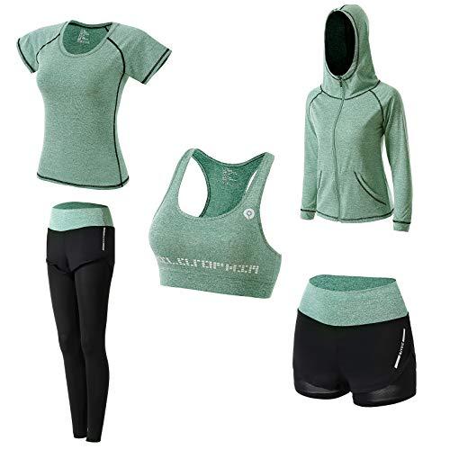 Abbigliamento Sportivo da Donna, T-Shirt 5set Suit per Sport Yoga Ginnastica Sport Include Manica Lunga e Corta, Pantaloni, Reggiseno, Morbido e Traspirante Confortevole (Verde, S)