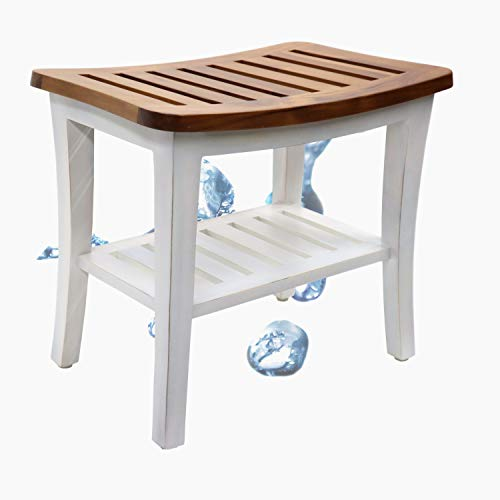 Homelity Teak Shower Stool & Bench with Storage Shelf, Spa Bath Chair Farmhouse Style, Waterproof Shower Bath Seats for Adults, Elderly, Seniors, Disabled, Women, Handicap, 250 lbs Weight Capacity