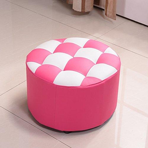 Taburete de julio Banco de Madera Maciza pequeña Sala de Estar sofá hogar Creativo heces Circulares (Color : Rosa roja)