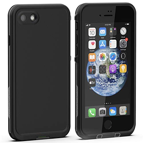 Diverbox iPhone SE 2020 Waterproof Case iPhone 8 Waterproof Case,Waterproof Shockproof IP68 Full-Body Sturdy Case Built-in Screen Protector, Durable Underwater for Full Sealed Cover 4.7 in (Black)