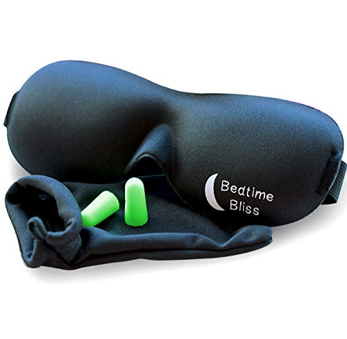 Bedtime Bliss Eye Mask for Sleeping   Sleep Mask for Men & Women. Our Luxury Blackout Masks are Adjustable, Contoured & Comfortable - Includes Carry Pouch...