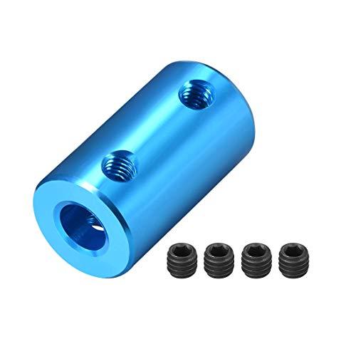 sourcing map Wellen Kupplung Rigid Motor Rad Koppler 4mm zu 6mm Bohrung L25xD14 Blau