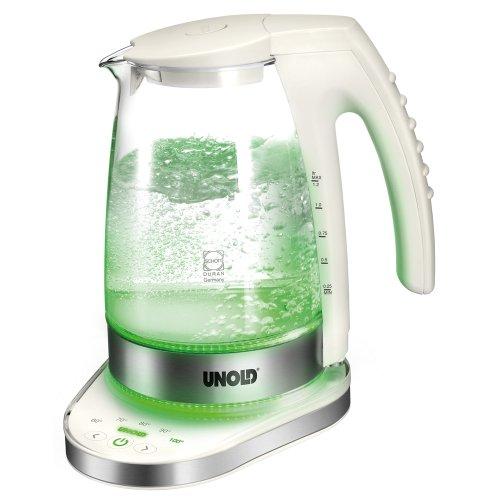Unold 18580 Hervidor de Agua, 2300 W, 1.2 litros, Vidrio, Transparente y blanco