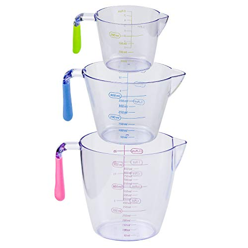 KARAA 3PCS Messbecher Set Stapelbar 200ml/400ml/900ml aus Kusntstoff BPA Frei Messbecher Küche Hitzebeständig mit verschiedenen Maßeinheiten Transparent