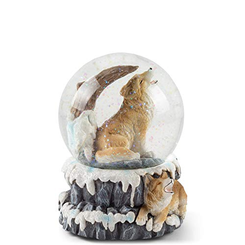 Elanze Designs Howling Wolf 100MM Resin Stone 3D Musical Water Globe Plays Tune Born Free