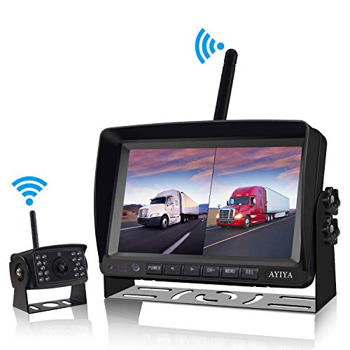 1080P FHD Wireless Backup Camera for Truck,RV,Trailer,7'' IPS DVR Reversing Monitor with Digital Rear View Camera,Support Split/Quad Screen,IP68 Waterproof,IR Night Vision,Guide Lines On/Off