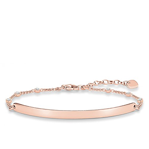 Thomas Sabo Damen-Armband Love Bridge 925 Sterling Silber 750 rosegold vergoldet Zirkonia weiß Länge von 16 bis 19.5 cm Brücke 5.4 cm LBA0040-416-14-L19,5v