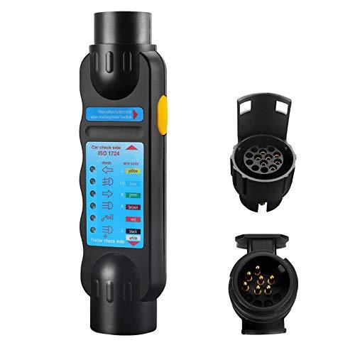 Komake Anhängerbeleuchtung Testgerät, Wohnwagen Anhänger Prüfgerät 12V Trailer Tester für 7 polige Stecker und Steckdosenanschluss