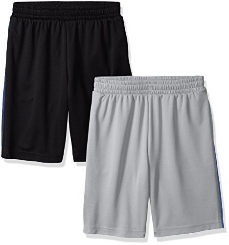 Amazon Essentials Boys' 2-Pack Mesh Short Bañador, Negro/Gris Claro, 2T
