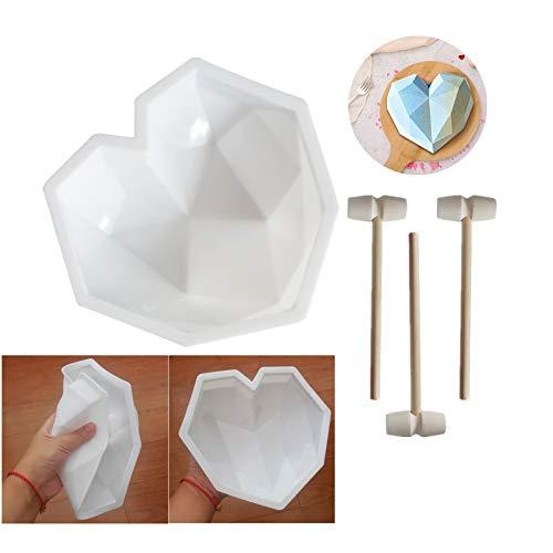 YChoice365 Moldes de silicona, molde para tartas con forma de corazón de...