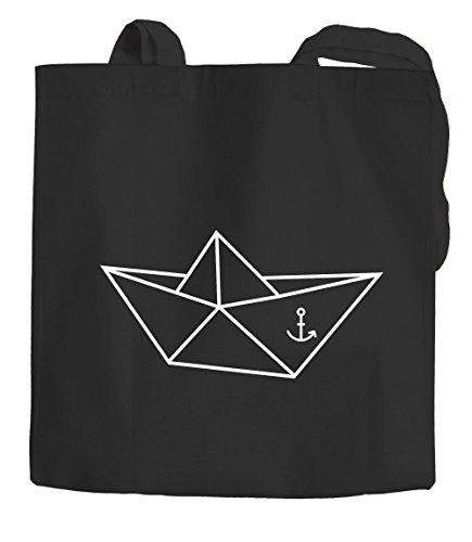 Jutebeutel Tragetasche Origami Schiffchen Anker Seemann Schiff Anchor Stoffbeutel Moonworks® schwarz 2 lange Henkel