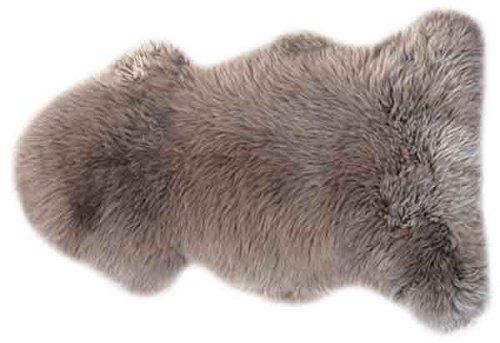 Rökü Dekofelle aus echtem Schaffell ca. 115 cm (Mushroom, 90 x 115 cm)