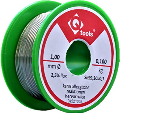 Q-tools® 100g Lötzinn mit Flussmittel Lötdraht 1mm mit Versand am gleichen Werktag aus Deutschland 100g Rolle