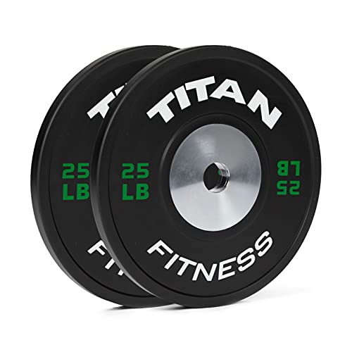 Titan Fitness Elite Olympic Bumper Plates 25 LB Pair Black Rubber with Steel Insert