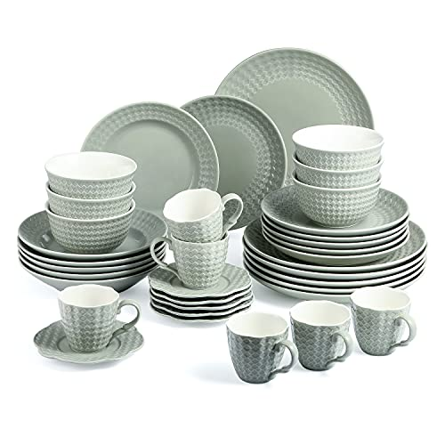Sunting Vajilla de porcelana para 6 personas (36 piezas), color gris y verde