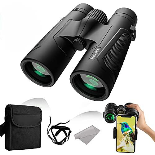Voperk Prismáticos Profesionales 12x42 HD Binoculares Profesionales, Prismas BAK4 y FMC, con Adaptador de Teléfono Inteligente Ideales para Evento Deportivo, Observación, Astronomía y Camping