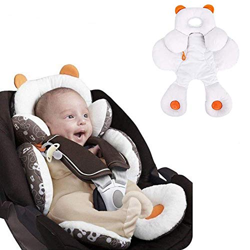 Inchant bébé Chef de Soutien du Corps pour Les sièges d'auto et poussettes, 2-in-1 réversible Poussette Pillow Insert en Coton Bio, Blanc