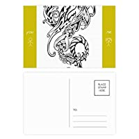 中国のライン塗装の中国のドラゴン 友人のポストカードセットサンクスカード郵送側20個