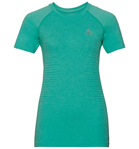 Odlo T-Shirt s/s Crew Neck Seamless Element T-Shirt Femme Pool Green Melange FR : M (Taille Fabricant : M)