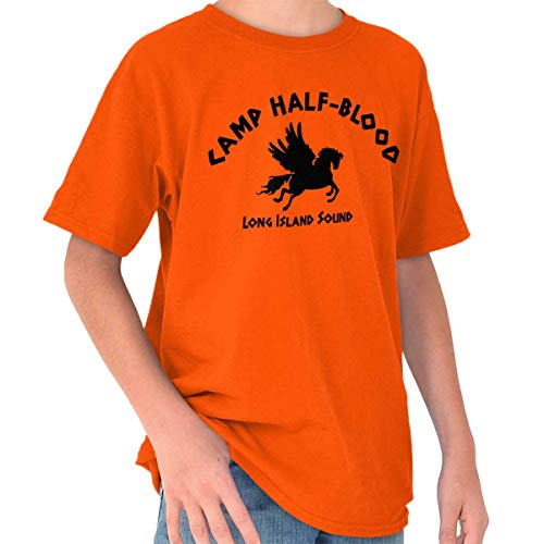 Brisco Brands Camp Half Blood Greek Mythology Crewneck T Shirts Boy Girl Orange