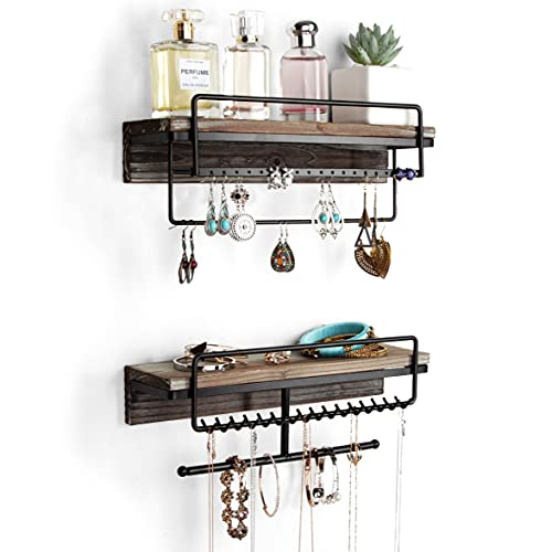 J JACKCUBE DESIGN Rustic Wood 2 Tier Jewelry Organizer, Hanging Wall Mount Accessories Display Rack for Earrings, Necklaces, Breacelet, Rings, Scrunchies with Shelf- MK628A (Rustic Wood)