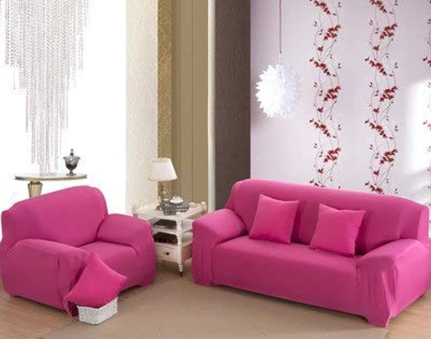 Farmerly KISS Queen Solid Sofa Cover Elastic Knitted Fabric slipcovers All-Inclusive Couch case for All Size Shape Sofa   hot Pink, 90-140cm