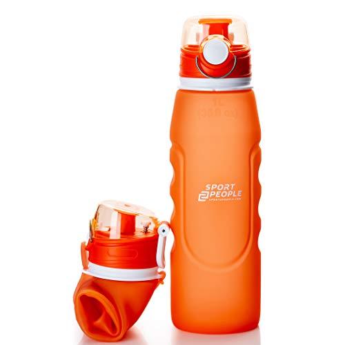sport2people Botella de Agua Plegable de Silicona de 1 L, Calidad médica, sin BPA, con válvula de Seguridad para Viajes, Deportes, Exteriores, Camping (Orange)