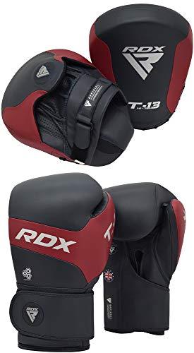 RDX Handpratzen Boxen Pads Boxhandschuhe Box Pads Kampfsport BoxPratzen Boxsack Mitts MMA Muay Thai Training Kickboxen Haken und Jab Schlagpolster Sandsack Schlagkissen Sparring (MEHRWEG)