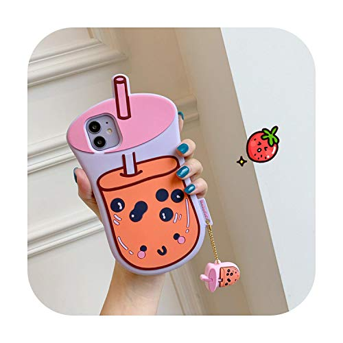 Silicone Phone Case For apple iphone 11 Pro MAX X 10 XR XS Max 7 8 Plus Cover Cute 3D Milk tea-B-For iPhone 11