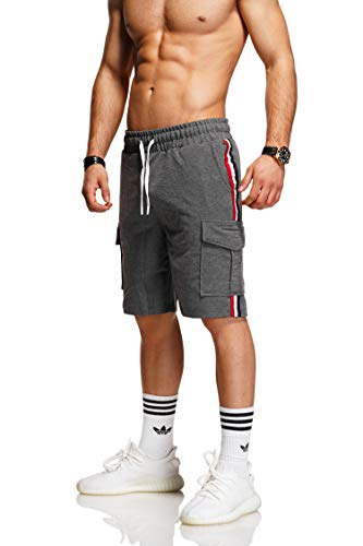 behype. Herren Sweat-Shorts Kurze Hose Sport-Hose Jogging-Hose Trainings-Hose Freizeit Side-Stripe 60-8110 Dunkelgrau L