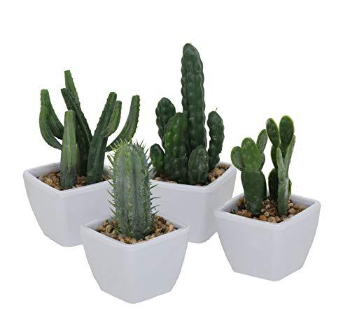 Kaktus Kunstpflanze im weißen Topf - 4er Set - Kakteen klein Tischdeko Büro Pflanze künstlich