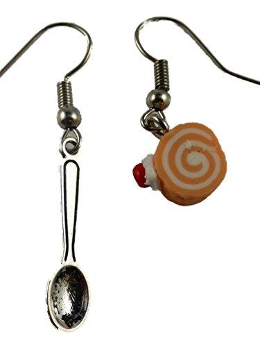 Ausgefallene Ohrringe Ohrhänger Hänger Keks Kuchen Torte Rolle Kaffee Tee Restaurant Bäckerei mit Löffel Besteck 7136