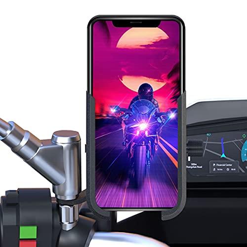 Soporte movil Moto Scooter Aluminio sujecion a Espejo retrovisor irrompible Valido para telefonos moviles de hasta 7.2