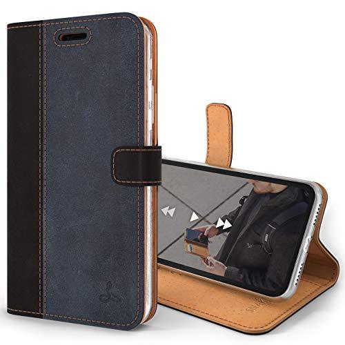 Snakehive iPhone XS/X Handy Schutzhülle/Klapphülle echt Lederhülle mit Standfunktion, Handmade in Europa Bye iPhone XS/iPhone X - Schwarz und Marine Blau