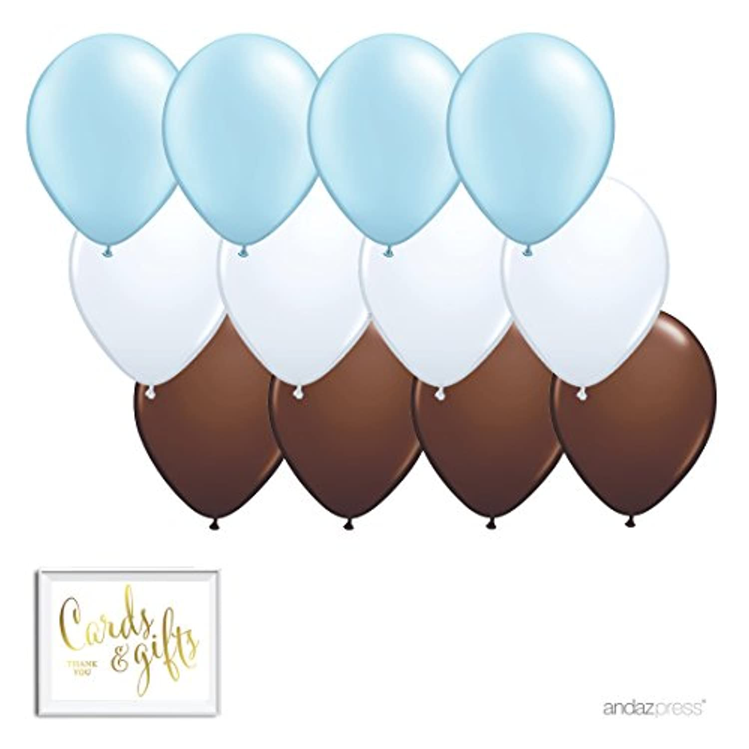 Andaz Press 11-inch Latex Balloon Trio Party Kit with Gold Cards & Gifts Sign, Baby Blue, White, Brown, 12-pk, Boy Monkey Baby Shower