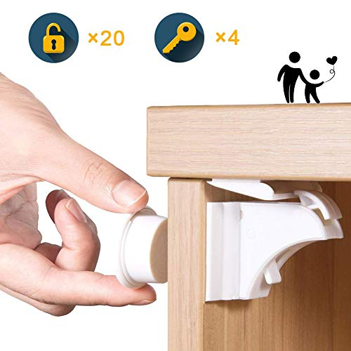 Child Safety Magnet Locks (20+4) Best Baby Proofing Lock for Kitchen Cabinet, Drawer, Cupboard - No Tool or Drill with 3M Adhesive, Cabinets Door Locking, Magnetic Latches Kit