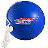 Western Star Tetherball and Rope Set Backyard Outdoor for Kids Yellow Red Blue Green Pink Replacement Ball Premium Line with Pump (Navy Blue)