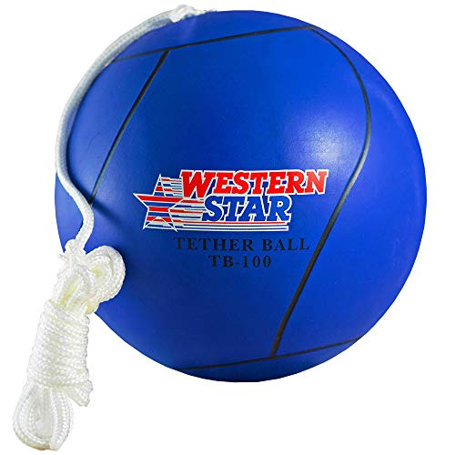 Tetherball and Rope Set Backyard Outdoor for Kids Yellow Red Blue Green Pink Replacement Ball Western Star Premium Line with Pump (Navy Blue)